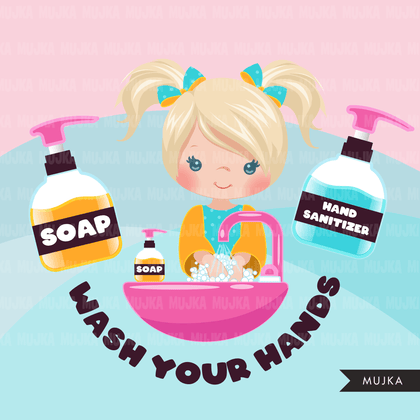 Hand washing Clipart, girls, hand sanitizer, bathroom chores, cleaning, covid 19, corona virus, social distancing graphics