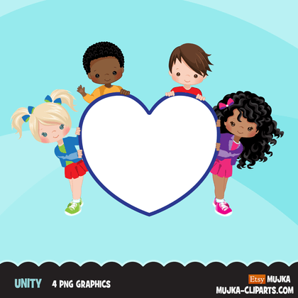 Free Unity clipart, Brothers and sisters, heart shape globe rainbow digital PNG