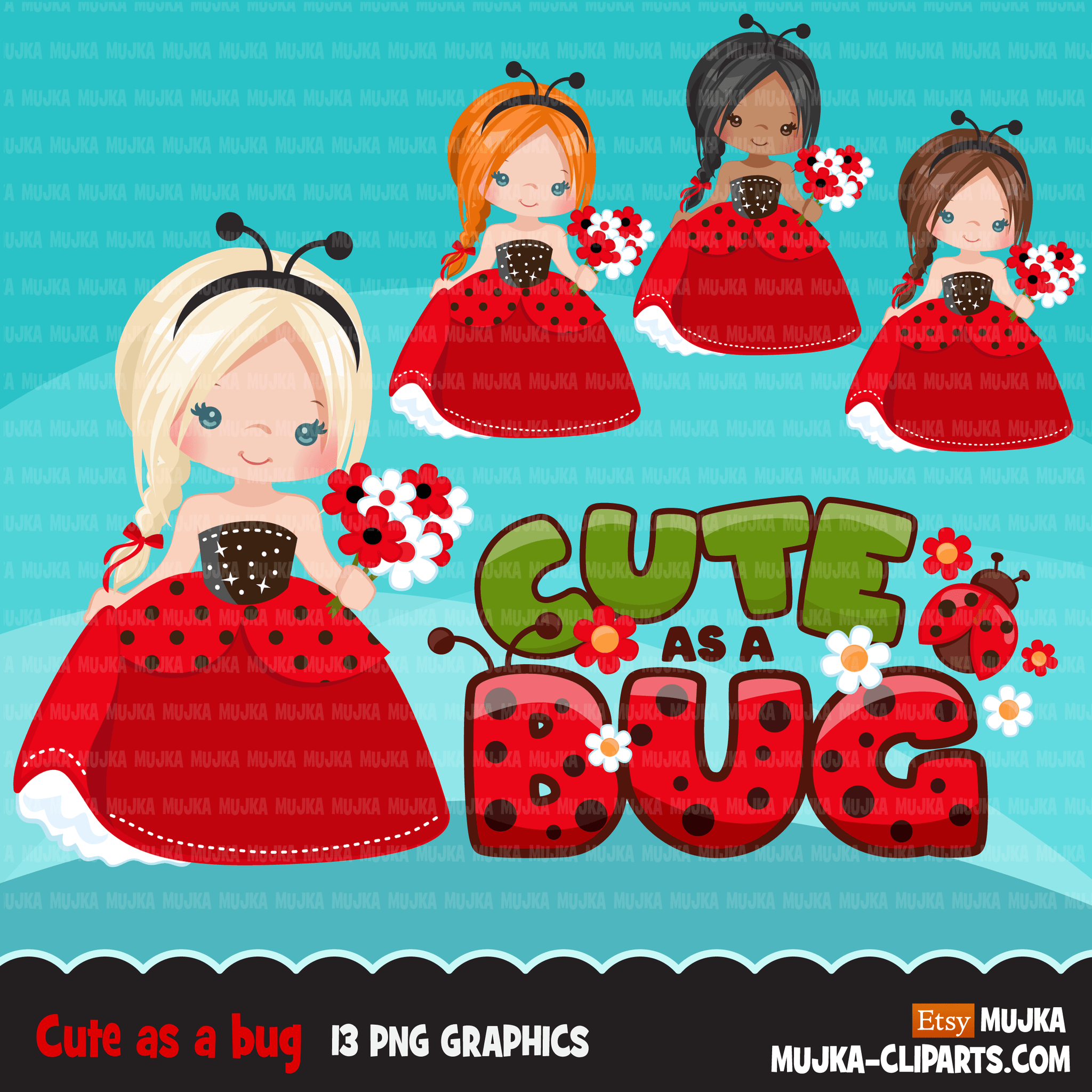 Ladybug Clipart, cute Princess, fairy tale graphics, Easter girls with flowers, cute as a bug, commercial use clip art