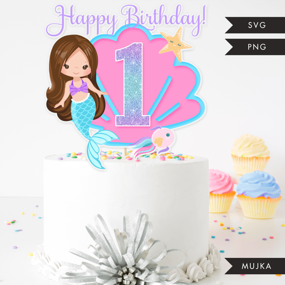 Mermaid Birthday Numbers Cake toppers SVG, PNG cutting files and clipart. Brunette Rainbow mermaid graphics for Cricut, Silhouette