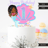 Mermaid Birthday Numbers Cake toppers SVG, PNG cutting files and clipart. Black braids Rainbow mermaid graphics for Cricut, Silhouette