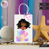 Mermaid Birthday Gift bag and Thank you tags SVG, PNG cutting and print files. Curly Black Rainbow mermaid graphics for Cricut, Silhouette