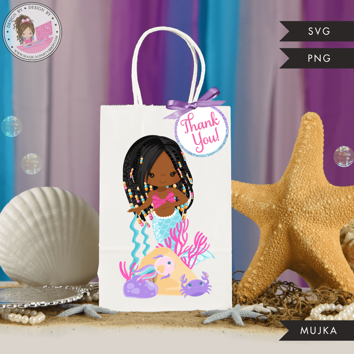 Mermaid Birthday Gift bag and Thank you tags SVG, PNG cutting and print files. Black braids Rainbow mermaid graphics for Cricut, Silhouette