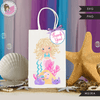 Mermaid Birthday Gift bag and Thank you tags SVG, PNG cutting and print files. Curly Blonde Rainbow mermaid graphics for Cricut, Silhouette
