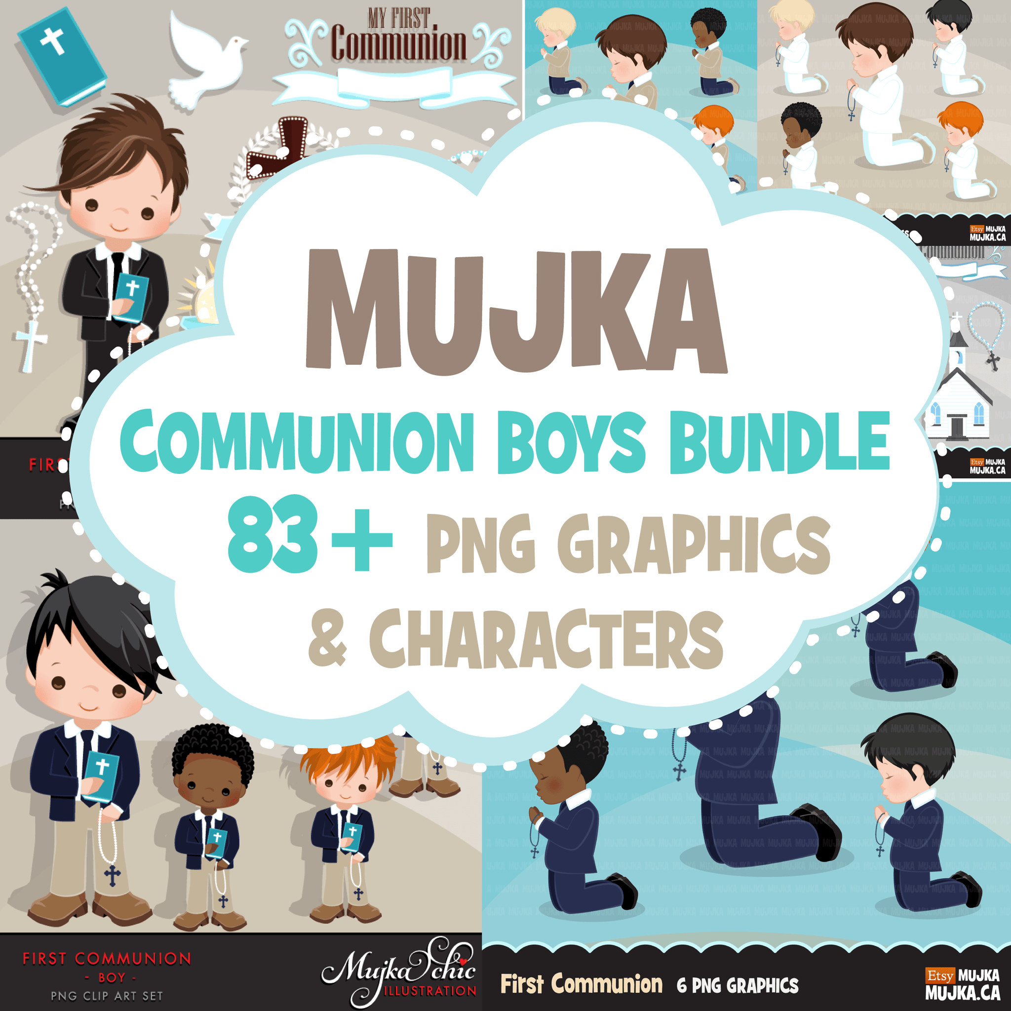 First Holy Communion BOYS Clipart Bundle. Religious Graphics religious