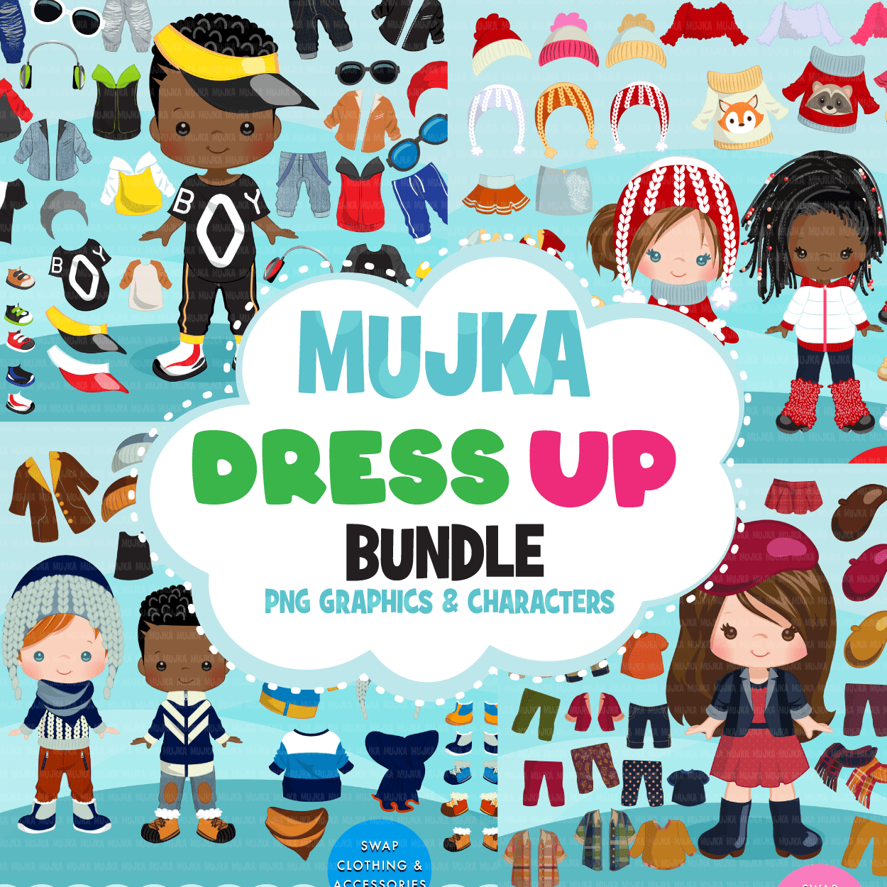 Paper Doll clipart Bundle, Dress up graphics, fashion outfits for kids girl and boy png sublimation graphics