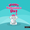 Free Valentine's day clipart, Cute animal graphics, digital PNG personal use Mujka