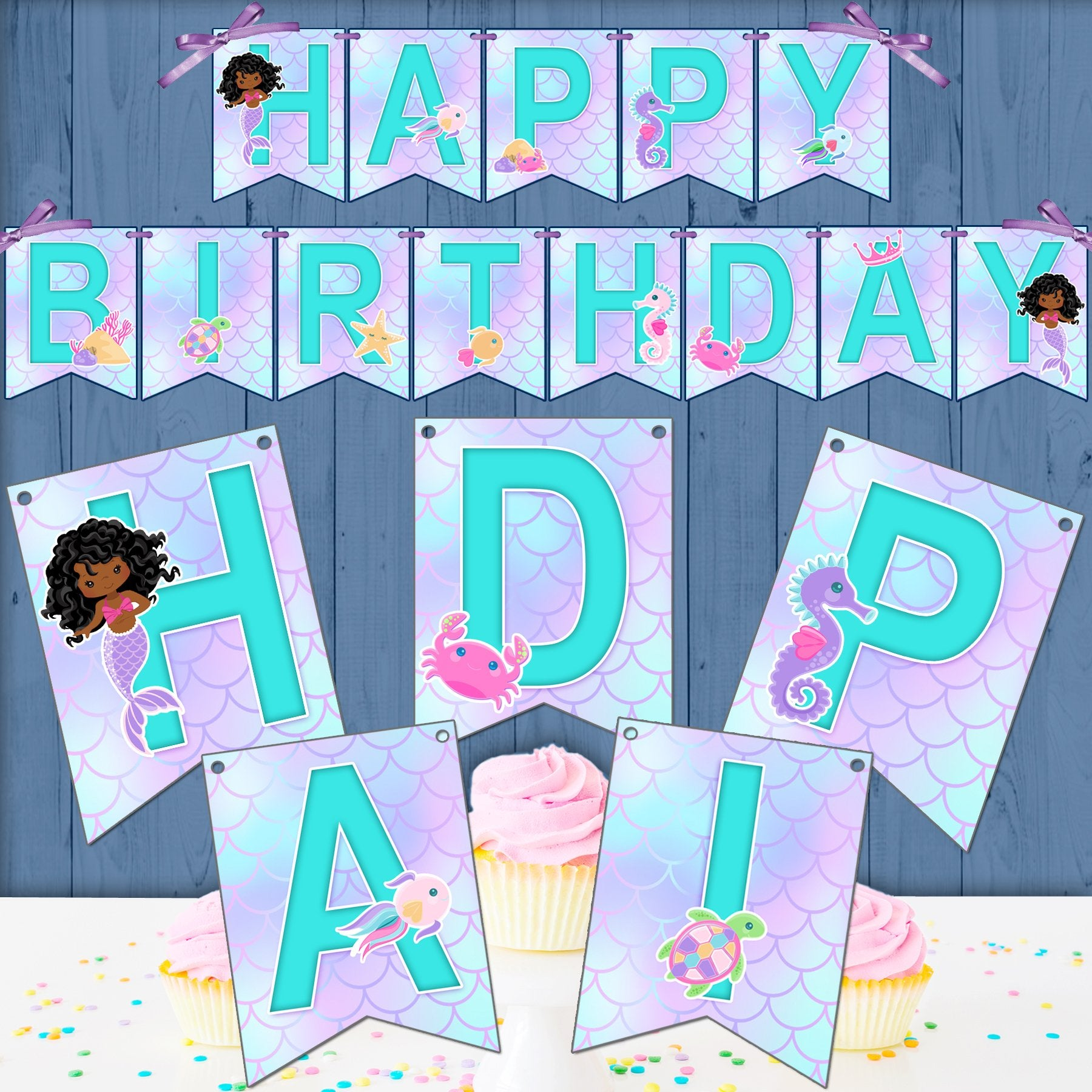Mermaid Birthday Banner SVG, PNG cutting and print files. Curly afro Rainbow mermaid graphics for Cricut, Silhouette