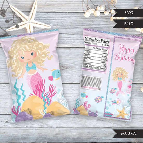 Mermaid Birthday Chip bag SVG, PNG cutting and print files. Blonde Curly mermaid
