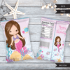 Mermaid Birthday Chip bag SVG, PNG cutting and print files. Brunette mermaid