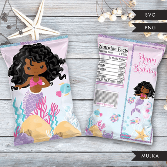 Mermaid Birthday Chip bag SVG, PNG cutting and print files. Black curly Rainbow mermaid graphics for Cricut, Silhouette