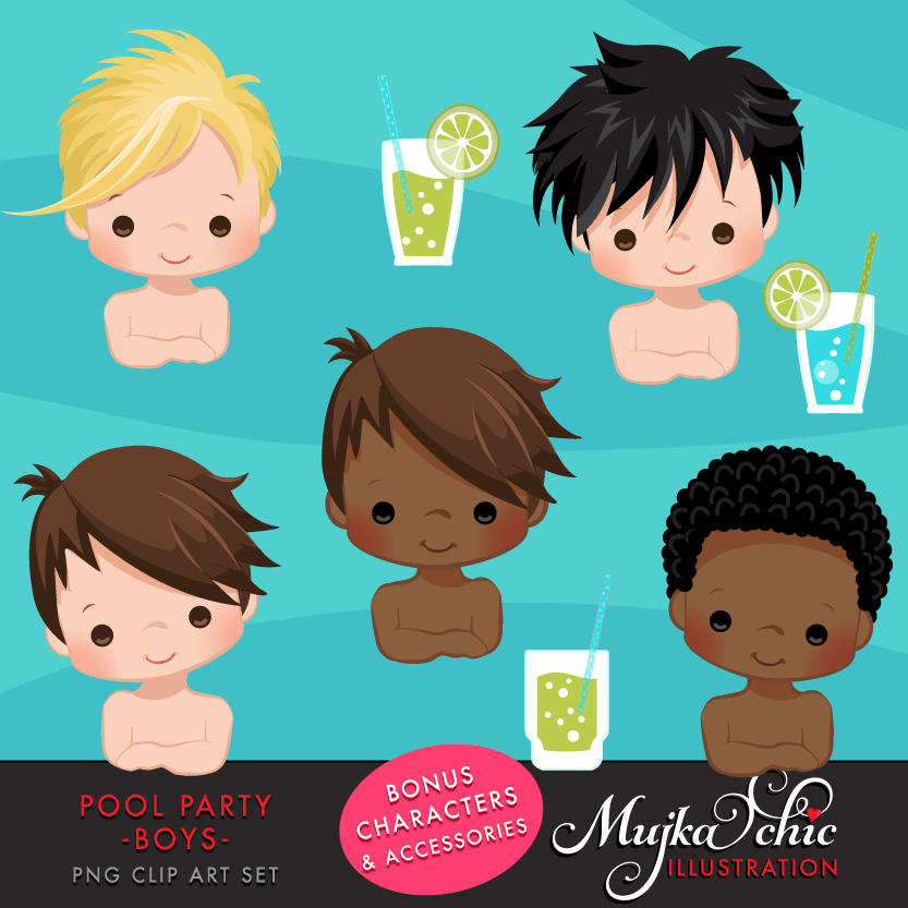 Pool Party clipart Bundle. Collection of cute backyard pool party, birthday graphics for boys and girls, summer