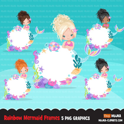 Little Mermaids clipart Bundle. Rainbow mermaid graphics. Undersea, coral, starfish, fish, seahorse Girls