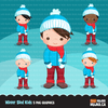 Winter sledding Kids Clipart Bundle, cute outdoors graphics tobogganing boy and girl, children snow day bundle