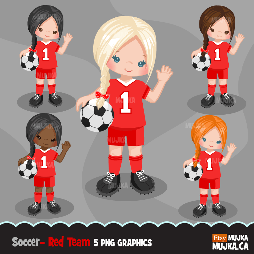 Soccer Clipart Bundle, playing soccer ball, sports, birthday party, boys & girls team jersey, clip art commercial use PNG graphics