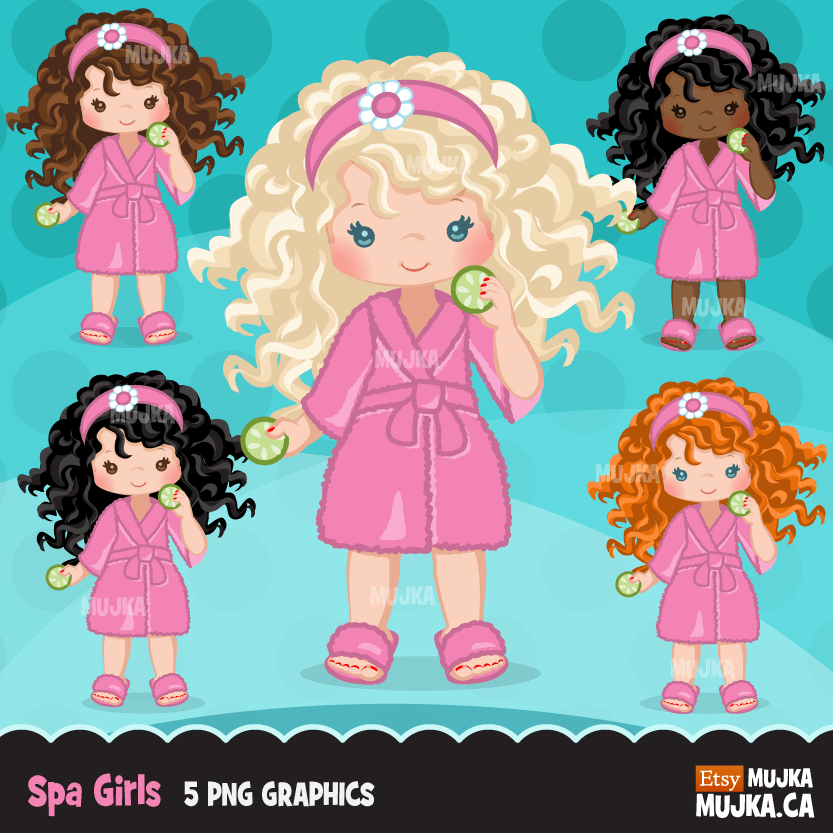 Spa Clipart Bundle. Spa birthday Party Graphics for girls, manicure, bath, nail polish, shower