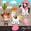 Cowboys and Cowgirls Clipart Bundle, wild west country western designs, sublimation graphics commercial use PNG clip art