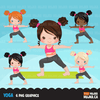 Yoga Clipart Bundle, Yoga healthy Life style graphics. Girls