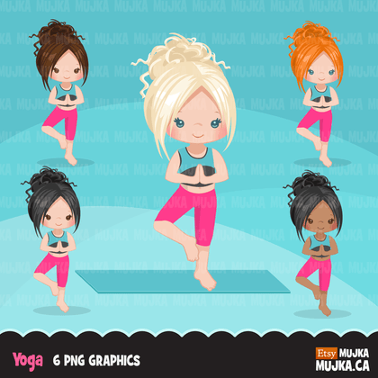 Yoga Clipart Bundle. Yoga healthy Life style graphics. Girls gym life