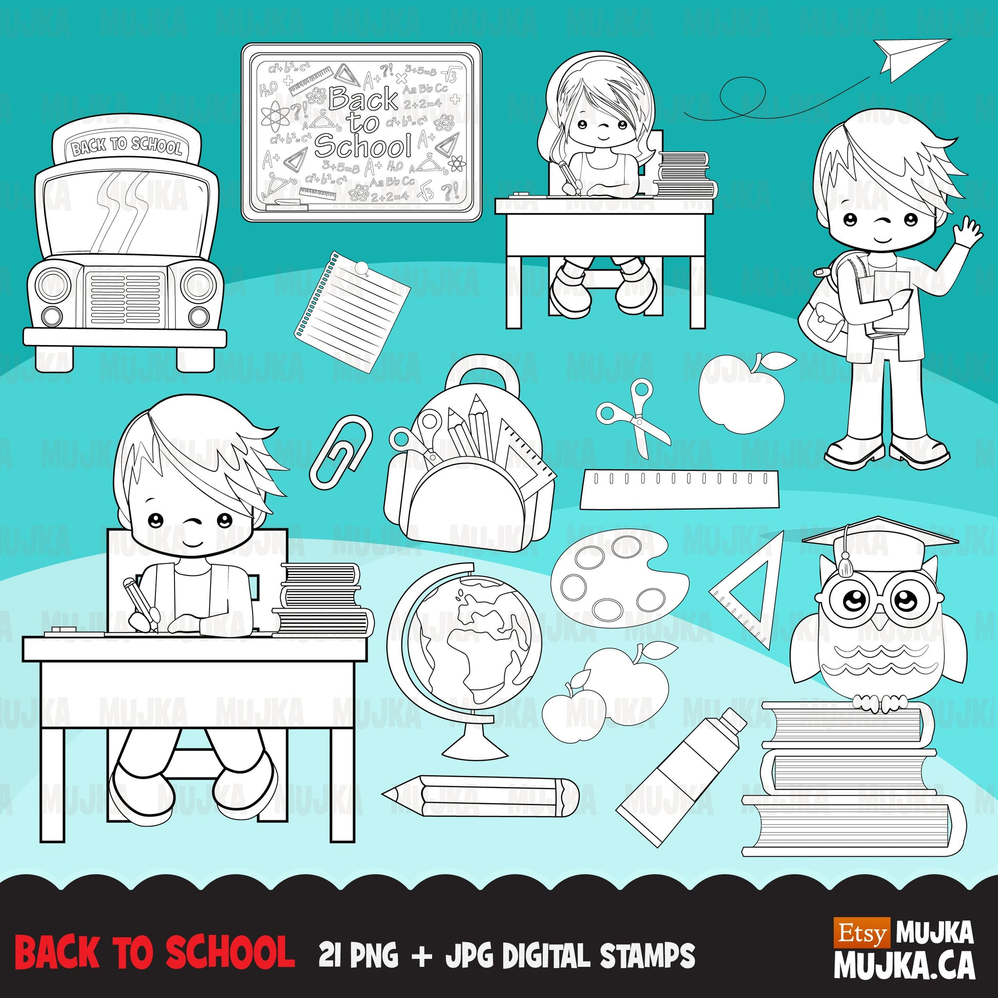 School Education Clipart Bundle. Students, graduates, teachers and school elements graphics, boys girls