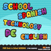 Free School wording clipart, English, School, Spanish, Technology, PE lettering