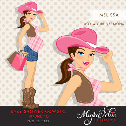 Brunette Cowgirl Pregnant Woman Character carrying gift bags Clipart. Baby Shower Party Invitation Character
