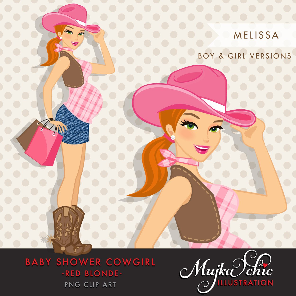 Red Blonde Cowgirl Pregnant Woman Character with gift bags Clipart. Baby Shower Party Invitation Character