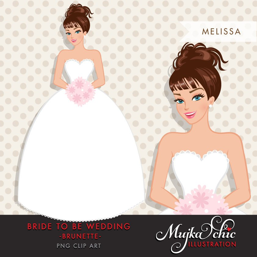 Brunette Bride Clipart, wedding Graphics