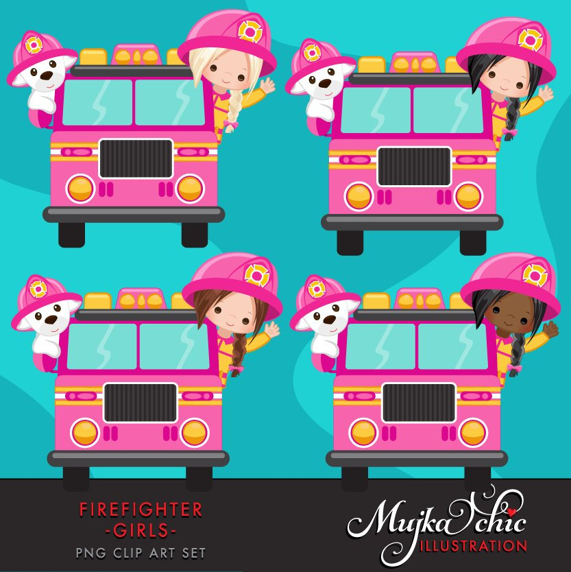 Firefighter Girls Clipart