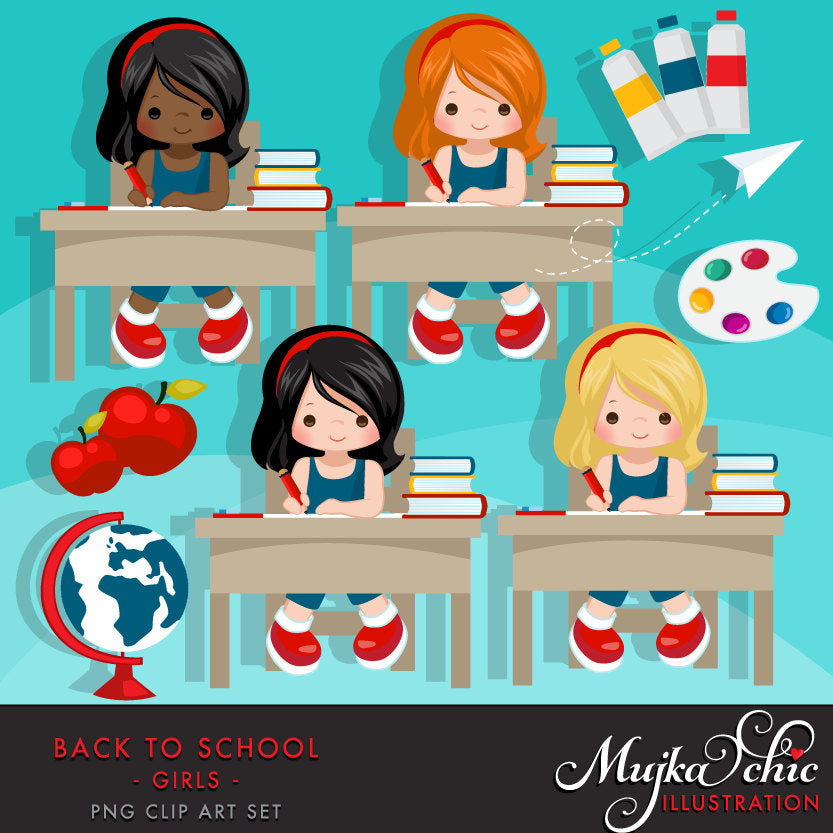 Girl going Back to school Clipart