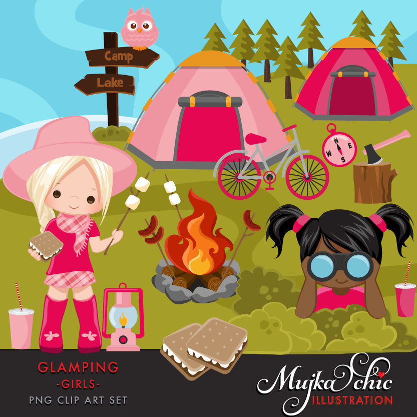 Glamping Clipart for Girls