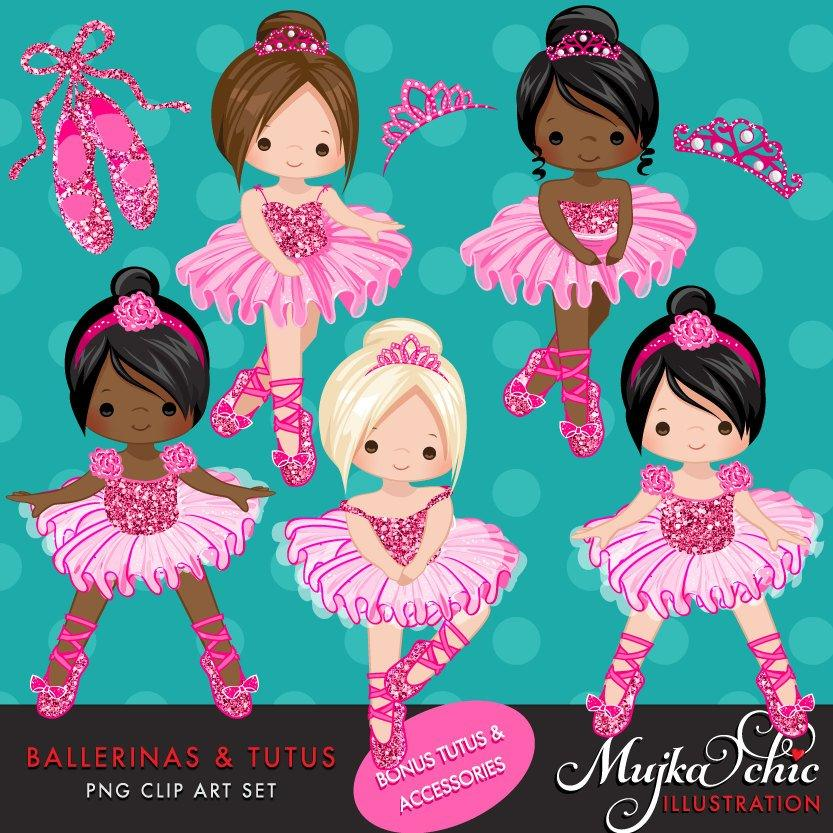 Girl Ballerinas and Tutus Hot Pink Glitter Clipart
