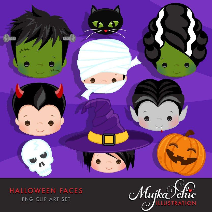 Halloween Faces Clipart. boys, Frankenstein, bride of Frankenstein, mummy, jack-o-lantern, count Dracula, black cat, witch, Devil and skull cliparts