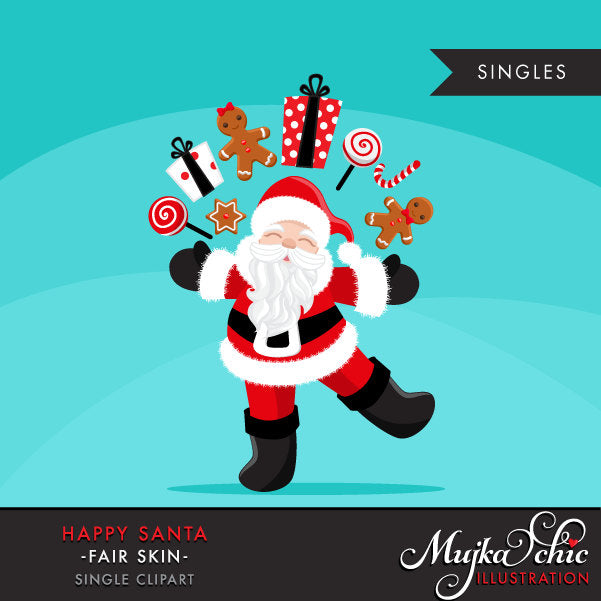 Santa clipart with gift bags, Merry Christmas