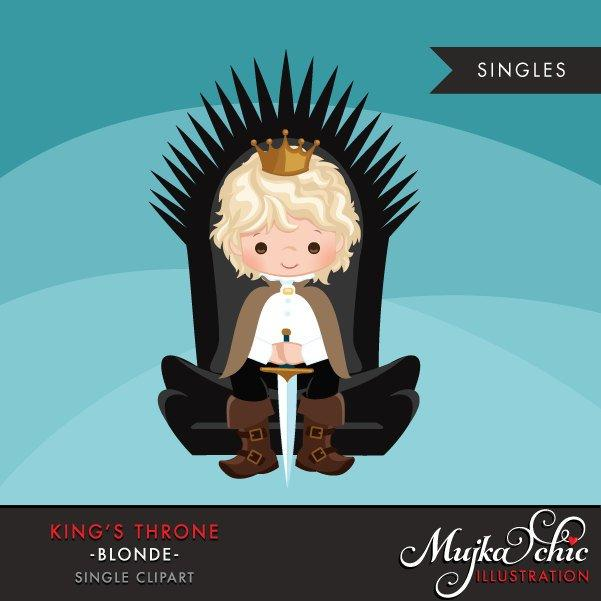 King Throne Clipart. Blonde boy