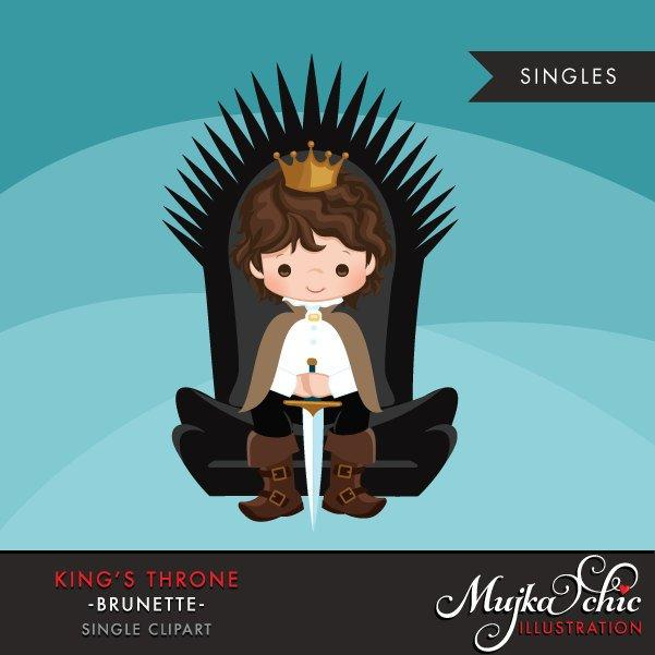 King Throne Clipart. Brunette boy