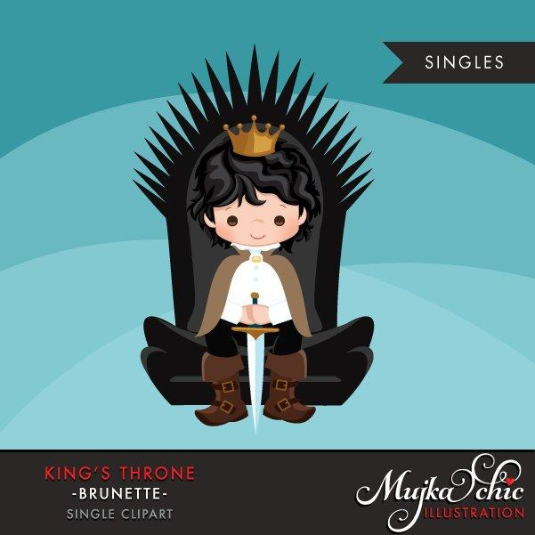 King Throne Clipart. Dark brunette boy