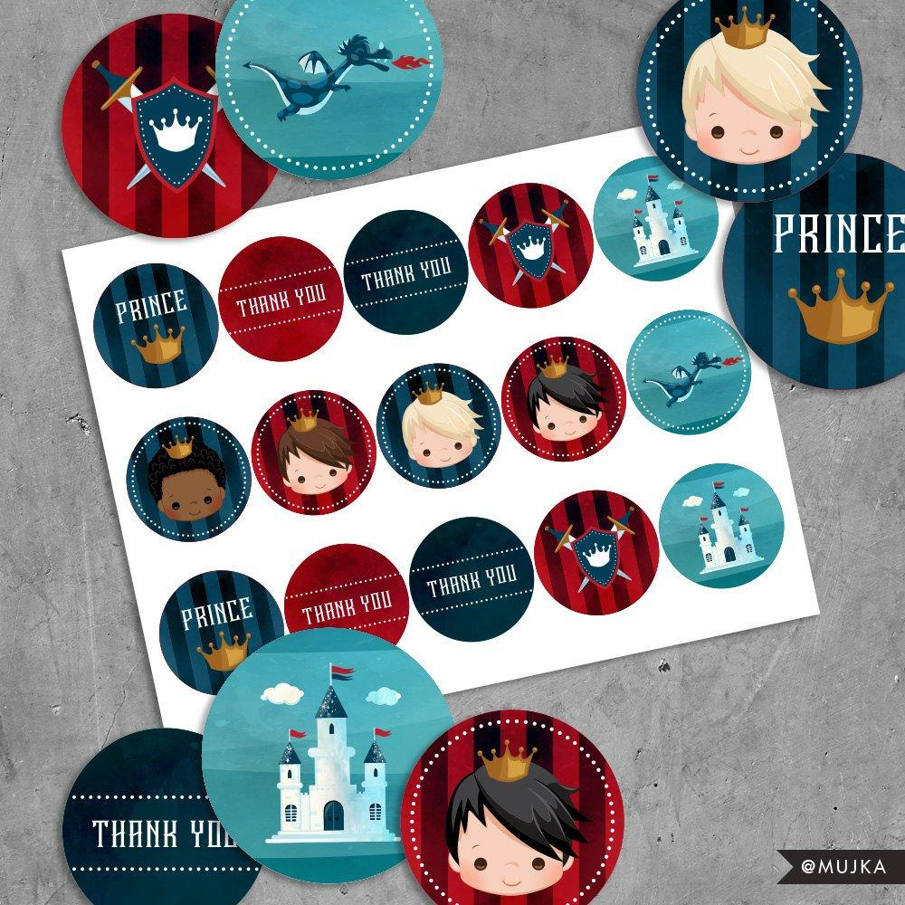 Printable Prince Birthday Stickers, Red & Blue prince cupcake toppers