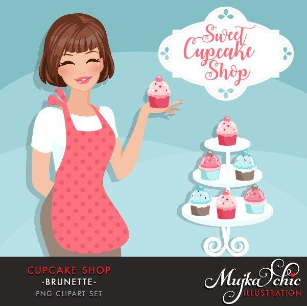 Cupcake Shop Owner Avatar. Brunette woman holding a cupcake