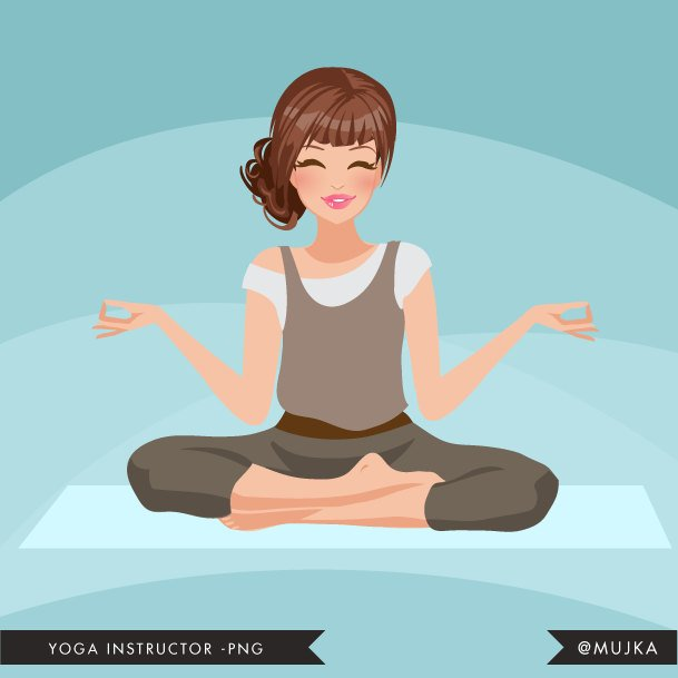 Brunette Yoga instructor Avatar. Yogi woman
