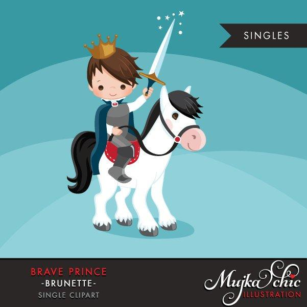 Brave Prince Clipart, boy on a horse
