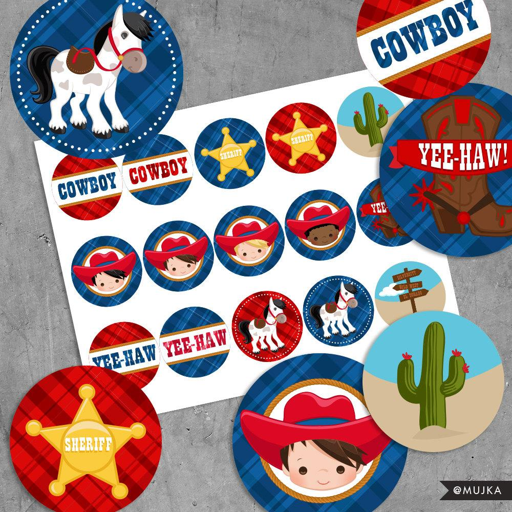 Printable Cowboy Birthday Stickers, Red & Blue Wild West Cowboys.