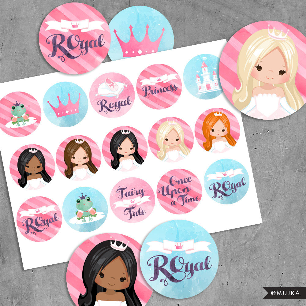 Printable Princess Birthday Stickers. Digital printable girl stickers