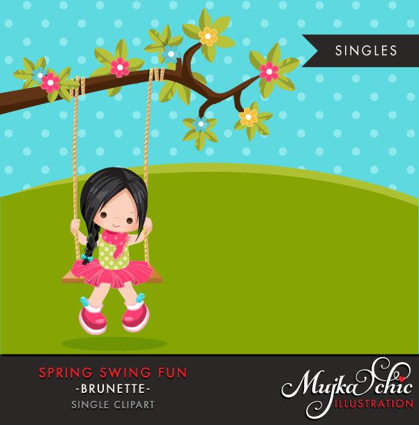 Spring Clipart, Dark brunette girl on swing