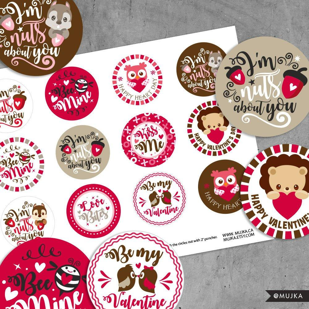 Valentine's Day Stickers. Digital printable Valentine round stickers, cupcake toppers