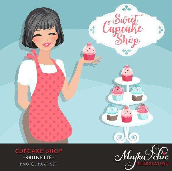 Cupcake Shop Owner Avatar. Dark Brunette woman holding a cupcake