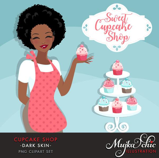 Black Cupcake Shop Owner Avatar.