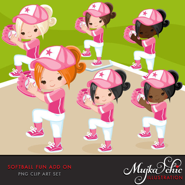 Softball Clipart ADD ON, girl