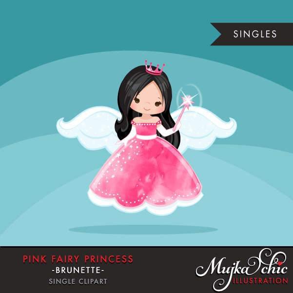 Pink fairy princess clipart, dark brunette girl