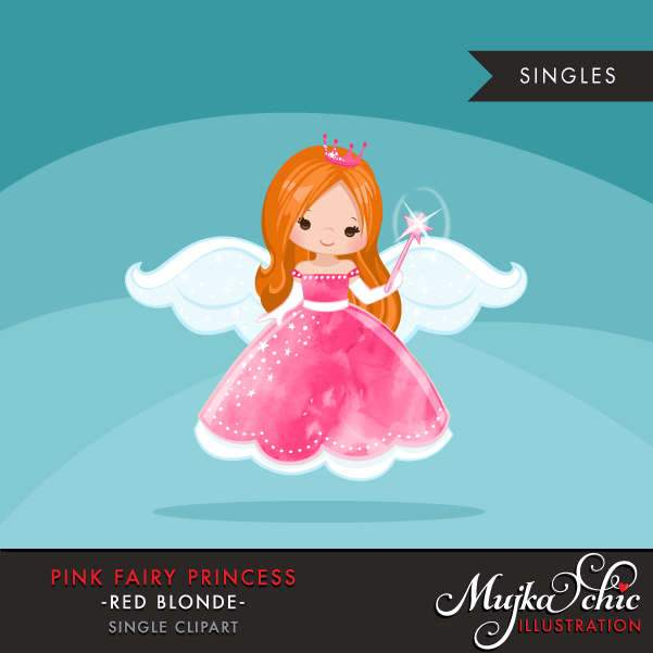 Pink fairy princess clipart, red blonde girl